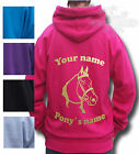 PERSONALISED HORSE RIDING HOODIE, PONY Equestrian Children's size's HORSE HEAD