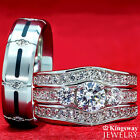 His & Hers 4 pcs Womens STERLING SILVER & Mens TITANIUM Wedding rings set bridal