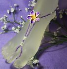 Girls Barefoot Sandals Purple Frangipani flower Beach bridal flowergirl handmade