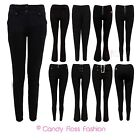 NEW LADIES MISS SEXY OFFICE SCHOOL WOMENS SKINNY HIPSTER TROUSERS SIZES 6-16