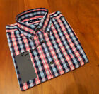 NEW GENUINE Fred Perry Mens Navy & Pink Check Shirt - RRP £65