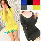 Candy Color Women's Girl Long Sleeve Crew Neck Tee Slim Fit Long Knit Top Dress