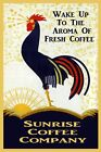 Rooster Wake Aroma Fresh Coffee Sunrise Breakfast Vintage Poster Repro FREE S/H