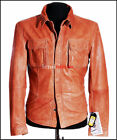 Daniel Tan Men's Smart Casual Retro Real Sheep Waxed Leather Shirt Style Jacket