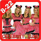New Minnie Mickey Mouse Ladies Fancy Dress Up Party Costume Ears Polka Dots Red