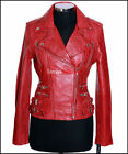 Jessie Red Waxed Ladies Women's Rock Chic Biker Retro Real Sheep Leather Jacket