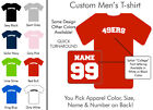 49'ers College Football Custom Name Number Personalized Men's Crew Neck T Shirt