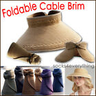 New Womens Foldable Wide Brim Straw Roll Up Sun Visor Hat Cable Ribbon 6 Color