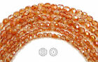 Внешний вид - Czech Fire Polished Round Faceted Beads in Crystal Apricot Medium, 3-4-6-8mm