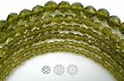"""Czech Fire Polished Round Faceted Beads in Olivine color, 16"""" strand"""