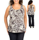 NEW BLACK LACE Print EXPOSED ZIPPER SLEEVELESS TOP Juniors Plus Size & Womens