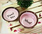 Cute Luxury Pet Food Bowl Feeder Dish for Dogs&Cats Pink&Brown Feed Me & Woof!