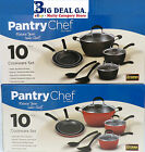 Pantry Chef 10 Piece Red Or Black Cookware Set With Serving Spoon And Turner