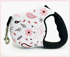 26 Bars And A Band Cute Dog Retractable Leash High Quality 2White Pink Flowers