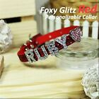 Personalized Luxury Leather Foxy Dog/Cat Collar- Glitz Red w/ Letters&Charms