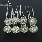 6/10/20pcs Flower Clear Crystal Diamante Wedding Bridal Prom Star Hair Pins Clip