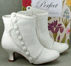 Ivory Satin Bridal Ankle Boots Embroidery Anglaise 2.5'' Heel Perfect VT Bridal