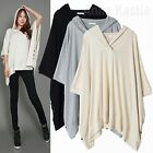 AnnaKastle New Womens Hooded Neck Side Button Oversized Poncho Top Tunic Size ML