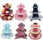 3 Tier Cupcake Cardboard Muffin Pink/Blue Party Tableware Decorating Cake Stand