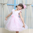 Flower Girl Birthday Party Pageant Communion Cap Sleeve Dress 6 Layer Skirt