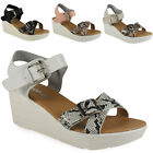 SALE WOMENS LADIES PLATFORM STRAP MID HEEL SUMMER LIGHT WEDGES SHOES SANDAL SIZE