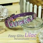 Personalized Luxury Leather Foxy Dog/Cat Collar- Glitz Lilac w/ Letters&Charms