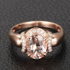 Oval Cut 6x8mm VS Morganite H/SI Diamonds 14K Rose Gold Engagement Wedding Ring