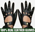 New Nice Quality Men's Real Goatskin Leather 4 holes Driving Gloves