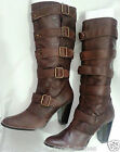LADIES Sexy WOMENS High Cut Brown Strap Leather BOOTS Pirate Style Sizes 35 - 39