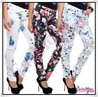 Women's Jeans Ladies Skinny Slim Trousers with Flowers Size 6,8,10,12,14 UK New
