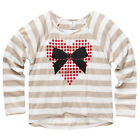BNWT ~ GIRLS SIZE 12 CARAMEL & CREAM LS TOP WITH HEART BOW MOTIF ~ NEW