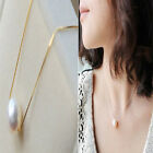 Lady Girls Sweet OL White Round Pearl Necklace Golden Chain Pearl Pendant Beauty