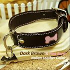 Luxury and Cute Dog Collar- Brown&Pink Bone Genuine Leather Durable Leash&Charm