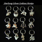 1 x  Sterling Silver 12mm Hinged Hoop Sleeper Earring Dangling Zodiac Star Sign
