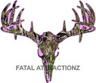 Pink Camo Deer Skull S4 Vinyl Sticker Decal Hunting whitetail trophy buck bow