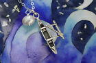 Love to Paddle Necklace ? Sterling silver Hawaiian outrigger canoe,  white pearl