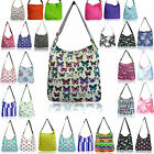 LYDC Large Ladies Designer Floral Canvas Messenger Across Body Polka Flower Bag