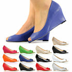 BRAND NEW WOMEN LADIES PEEP TOE WEDGE HEEL FORMAL SMART OFFICE SHOES SIZE 3 - 8