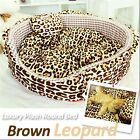 Luxury Pet Bed- Baby Brown Leopard Large Round Plush Cuddly Bed for Dog/Cat