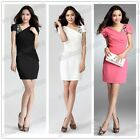 New Lady's Slim Overlay Sleeve Sheer short sleeve Rhinestones Evening Mini Dress