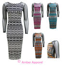NEW LADIES AZTEC TRIBAL PRINT MESH SIDE LONG SLEEVE BODYCON MIDI DRESS SIZE 8-14