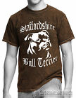 MINERAL WASH MENS T SHIRT,BLUE,BLACK,BROWN,STAFFORDSHIRE BULL TERRIER STAFFY