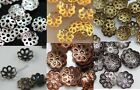 New 500pcs silver/golden/black/copper/bronze color metal flower bead caps