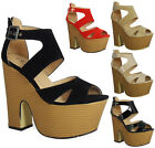 NEW WOMENS LADIES STRAPPY PEEPTOE PLATFORM BUCKLE CUTOUT WEDGES HEELS SHOES SIZE