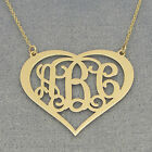 Solid 10k Gold 3 Initials Heart Monogram Necklace 1 1/4 inch Wide GM57C