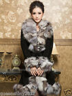100%Real Genuine Pig Leather Fox Collar Fur Long Coat Jacket Garment Outwear Hot