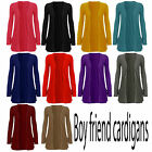 WOMEN LADIES BOYFRIEND OPEN CARDIGAN WITH POCKETS SIZE 8-14