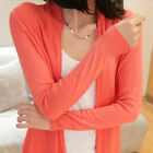 Womens Long Sleeve Hollow Casual Tencel Knitted Sweater Cardigan Top [JG]