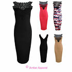 NEW LADIES SLEEVELESS BODYCON LACE INSERT PARTY DRESS 8 10 12 14