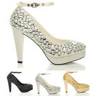 WOMENS LADIES WEDDING PLATFORM HIGH HEEL BRIDAL PROM PARTY COURT SHOES SIZE